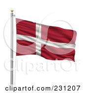Royalty Free RF Clipart Illustration Of The Flag Of Denmark Waving On A Pole