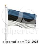 Royalty Free RF Clipart Illustration Of The Flag Of Estonia Waving On A Pole by stockillustrations