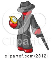 Clipart Illustration Of A Red Businessman Checking His Pocket Watch