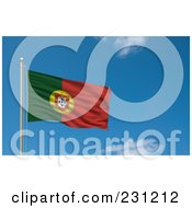 Royalty Free RF Clipart Illustration Of The Flag Of Portugal Waving On A Pole Against A Blue Sky