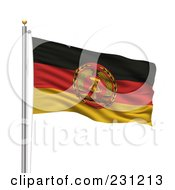 Royalty Free RF Clipart Illustration Of The Flag Of Eastern Germany Waving On A Pole by stockillustrations