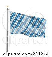 Royalty Free RF Clipart Illustration Of The Flag Of Bavaria Waving On A Pole by stockillustrations