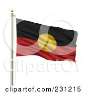 Royalty Free RF Clipart Illustration Of The Aboriginal Flag Waving On A Pole