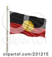 The Aboriginal Flag Waving On A Pole