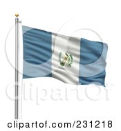 Royalty Free RF Clipart Illustration Of The Flag Of Guatemala Waving On A Pole