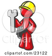 Proud Red Construction Worker Man In A Hardhat Holding A Wrench Clipart Illustration by Leo Blanchette