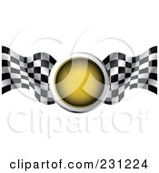 Royalty Free RF Clipart Illustration Of A Yellow Traffic Light With Checkered Racing Flags by MilsiArt