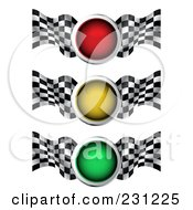 Royalty Free RF Clipart Illustration Of A Digital Collage Of Red Yellow And Green Traffic Lights With Checkered Racing Flags by MilsiArt
