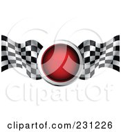 Royalty Free RF Clipart Illustration Of A Red Traffic Light With Checkered Racing Flags by MilsiArt