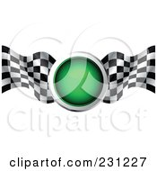 Royalty Free RF Clipart Illustration Of A Green Traffic Light With Checkered Racing Flags by MilsiArt