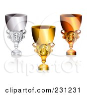Royalty Free RF Clipart Illustration Of A Digital Collage Of 3d Shiny Gold Bronze And Silver Trophy Cups