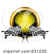 Royalty Free RF Clipart Illustration Of Wings Racing Flag And A Yellow Button by MilsiArt #COLLC231232-0110