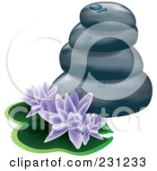 Stacked Spa Stones With Purple Lotus Flowers And Lily Pads
