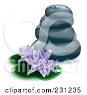 Royalty Free RF Clipart Illustration Of Purple Lotus Flowers And Lily Pads With Stacked Spa Stones