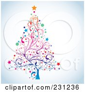 Royalty Free RF Clipart Illustration Of A Floral Christmas Tree On Shaded White
