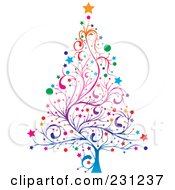 Royalty Free RF Clipart Illustration Of A Colorful Floral Christmas Tree