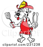 Royalty Free RF Clipart Illustration Of A Dalmatian Dog Wearing An Apron And Holding A Spatula And Tongs