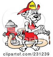 Royalty Free RF Clipart Illustration Of A Dalmatian Dog Wearing A Helmet And Using A Hose To Spray Bbq Sauce