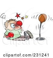 Royalty Free RF Clipart Illustration Of A Toon Guy Rubbing His Face After Being Hit With A Punching Bag
