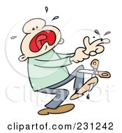 Royalty Free RF Clip Art Illustration Of A Toon Guy Screaming After Dropping Scissors On His Foot