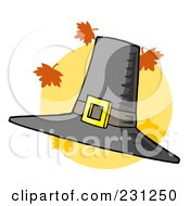 Royalty Free RF Clipart Illustration Of A Tall Pilgrim Hat With Autumn Leaves Over A Yellow Circle