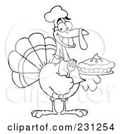 Royalty Free RF Clipart Illustration Of A Coloring Page Outline Of A Thanksgiving Turkey Bird Holding A Pie