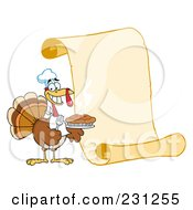 Royalty Free RF Clipart Illustration Of A Happy Thanksgiving Turkey Bird Holding A Pie By A Blank Menu Scroll