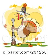 Royalty Free RF Clipart Illustration Of A Hunting Thanksgiving Pilgrim Turkey Bird With A Musket 2
