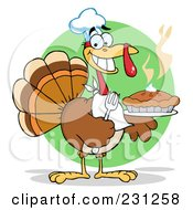 Royalty Free RF Clipart Illustration Of A Happy Thanksgiving Turkey Bird Holding A Pie 3