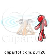 Red Businessman Talking On A Cell Phone A Communications Tower In The Background by Leo Blanchette