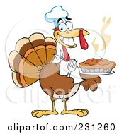 Royalty Free RF Clipart Illustration Of A Happy Thanksgiving Turkey Bird Holding A Pie 1