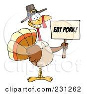 Royalty Free RF Clipart Illustration Of A Happy Thanksgiving Pilgrim Turkey Bird Holding An Eat Pork Sign