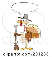 Royalty Free RF Clipart Illustration Of A Hunting Thanksgiving Pilgrim Turkey Bird With A Musket 3