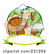 Royalty Free RF Clipart Illustration Of A Thanksgiving Turkey Bird Chef Holding A Platter Over A Blank Banner 4