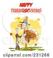 Royalty Free RF Clipart Illustration Of Happy Thanksgiving Over A Turkey Vird With A Musket