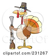 Royalty Free RF Clipart Illustration Of A Hunting Thanksgiving Pilgrim Turkey Bird With A Musket 1