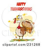 Royalty Free RF Clipart Illustration Of Happy Thanksgiving Over A Turkey Bird