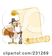 Royalty Free RF Clipart Illustration Of A Happy Thanksgiving Turkey Bird Holding A Musket By A Blank Menu Scroll