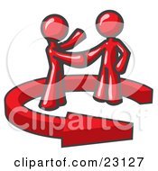 Red Salesman Shaking Hands With A Client While Making A Deal by Leo Blanchette