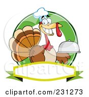 Royalty Free RF Clipart Illustration Of A Thanksgiving Turkey Bird Chef Holding A Platter Over A Blank Banner 2