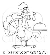 Royalty Free RF Clipart Illustration Of A Coloring Page Outline Of A Thanksgiving Turkey Bird Chef Holding A Platter