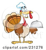 Royalty Free RF Clipart Illustration Of A Thanksgiving Turkey Bird Chef Holding A Platter 1