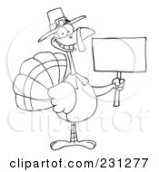 Royalty Free RF Clipart Illustration Of A Coloring Page Outline Of A Thanksgiving Pilgrim Turkey Bird Holding A Blank Sign