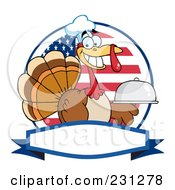 Royalty Free RF Clipart Illustration Of A Thanksgiving Turkey Bird Chef Holding A Platter Over A Blank Banner 3