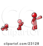 Clipart Illustration Of A Red Man In His Growth Stages Of Life As A Baby Child And Adult