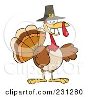 Royalty Free RF Clipart Illustration Of A Happy Thanksgiving Pilgrim Turkey Bird Smiling