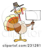 Royalty Free RF Clipart Illustration Of A Happy Thanksgiving Pilgrim Turkey Bird Holding A Blank Sign 1