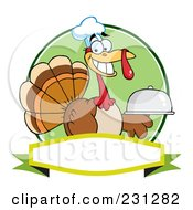 Royalty Free RF Clipart Illustration Of A Thanksgiving Turkey Bird Chef Holding A Platter Over A Blank Banner 1