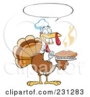 Royalty Free RF Clipart Illustration Of A Happy Thanksgiving Turkey Bird Holding A Pie 2