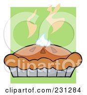 Royalty Free RF Clipart Illustration Of A Fresh Pumpkin Pie With Whipped Cream On Top Over Green
